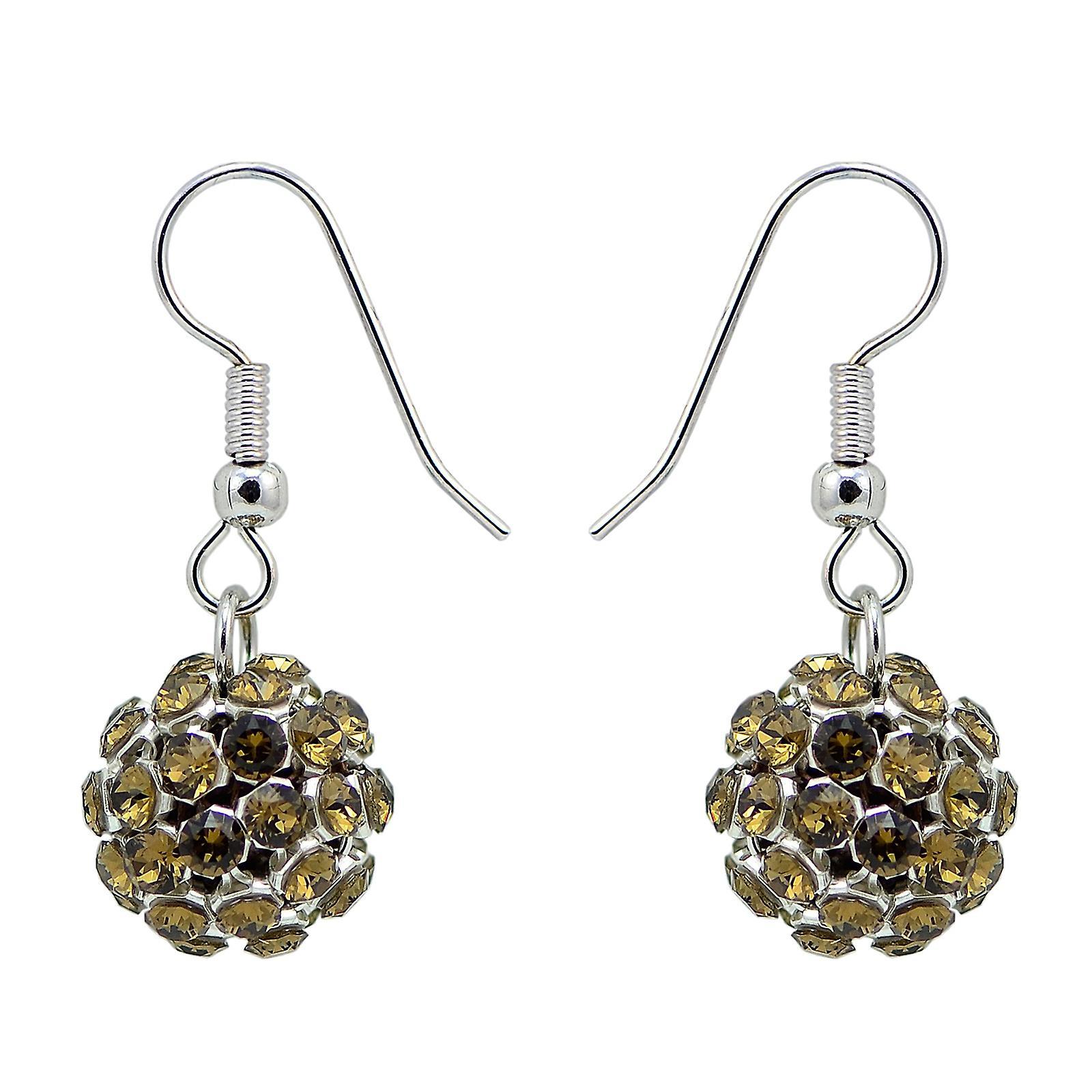 Smoky Quartz Crystal Mesh Ball Earrings EMB112.17