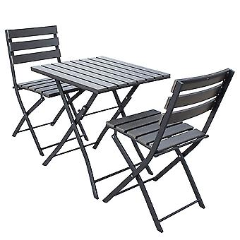 Bistro Set 3 Piece Durable Polywood and Aluminium Dining Set in Dark Grey