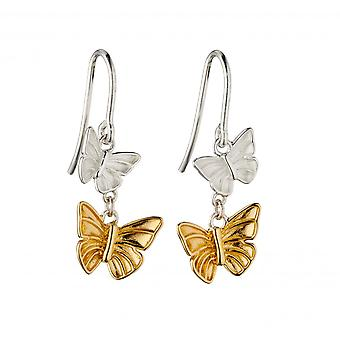 Elements Silver Sterling Silver Butterflies Yellow Gold Plating Earrings E5844