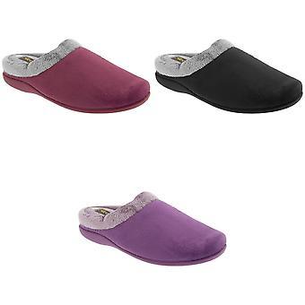 Sleepers Womens/Ladies Glenys Collar Plush Velour Mule Slippers