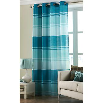 Country Club Stripe Ring Top Curtain Panel, Teal