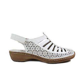 Rieker 41355-80 White Leather Womens Slingback Summer Shoes