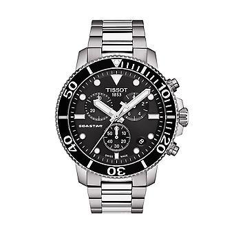 Tissot ceasuri T120.417.11.051.00 Seastar 1000 Negru și argintiu din oțel inoxidabil Cronograf Ceas