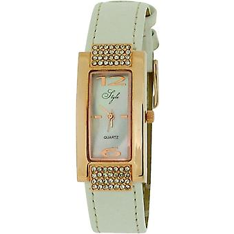 Style Ladies Stone Set Rose Goldtone Bezel MOP Dial & White PU Strap Watch NSS