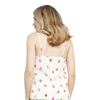 Cyberjammies 4452 Naiset's Sophia Cream Off Valkoinen Mansikka Tulosta Puuvilla Cami Pyjama Pusero