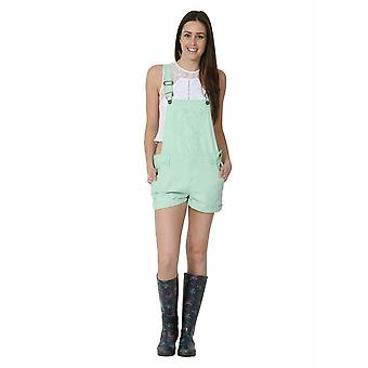 Ladies relaxed fit bib overall shorts green
