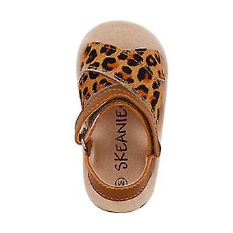 SKEANIE Pre-walker Cross Leather Sandals Leopard
