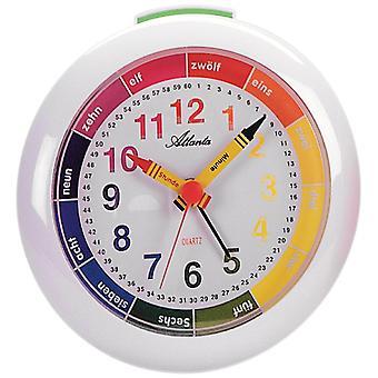 Atlanta 1265/0 Quartz analogique réveil réveil réveil pour enfants blanc coloré réveil d'apprentissage pour les enfants