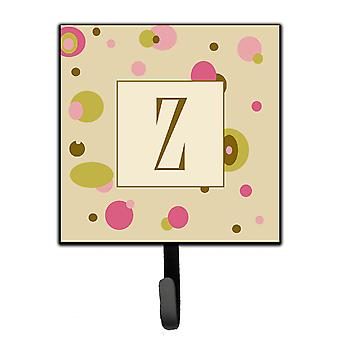 Letter Z Initial Monogram - Tan Dots Leash Holder or Key Hook