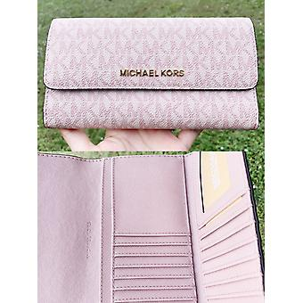 Michael kors jet set travel pvc large trifold wallet fawn mk ballet pink