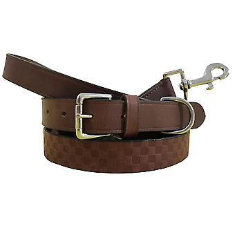 Bradley crompton genuine leather matching pair dog collar and lead set bcdc13tanbrown