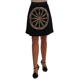 Dolce & Gabbana Black Embellished Wheel Wool Crepe Mini Skirt -- SKI1266480