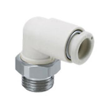 SMC Pneumatic Elbow Threaded-To-Tube Adapter, Uni 1/8 Male, Push In 6 Mm