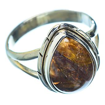 Golden Pietersite Ring Size 8 (925 Sterling Silver)  - Handmade Boho Vintage Jewelry RING5655