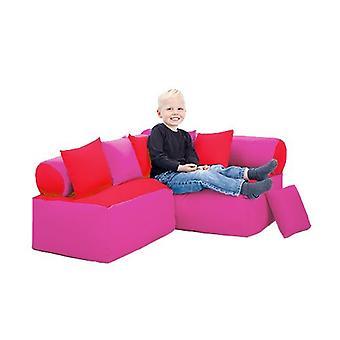 Fun!ture Red and Pink Children's Furniture Bean Bag Reading Sitting Corner Sofa