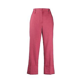 Brunello Cucinelli Mf591p7231c7900 Women's Fuchsia Linen Pants