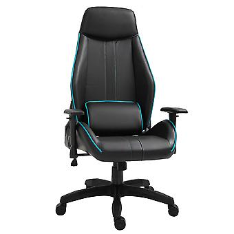 Vinsetto Racing Gaming Chair Adjustable Height Metal Frame w/ Wheels, Pillow Suitable For Home Office - Black&Blue
