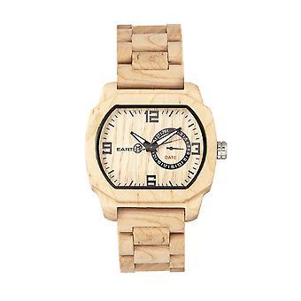 Aarde hout schilferige armband horloge w/datum-Khaki/Tan