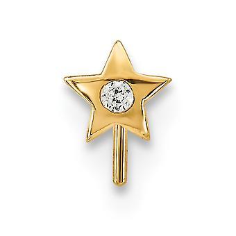 5,6 mm 14k CZ Zirkonia simuliert Diamant Stern Nase Ohrstecker Schmuck Geschenke für Frauen
