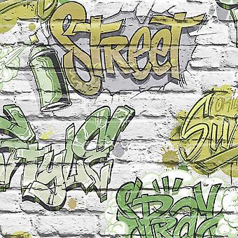 Graffiti Pattern Childrens Teen Wallpaper Green Grey Brick Faux Effect Metallic