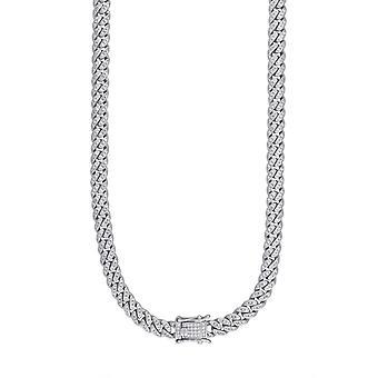 925 Sterling Silver Pánské CZ Cubic Zirconia Simulované Diamond Miami Obrubník řetězce 6,5 mm 20 palců šperky dárky pro muže