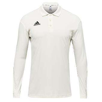 Adidas Regelverstöße Long Sleeve Kinder Cricket weißen Polo-Shirt Top Trikot White