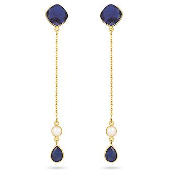 ADEN Gold Plated 925 Sterling Silver Sapphire Earrings (id 4455)