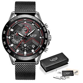 Lige Quartz Watch - Anologue Luxury Movement for Men - Stainless Steel - Black