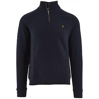 Farah Navy Marl Jim Quarter Zip Sweatshirt
