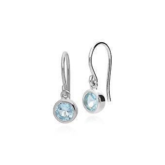 Essential Round Blue Topaz Bezel Set Drop Oorbellen in 925 Sterling Silver 253E150302925