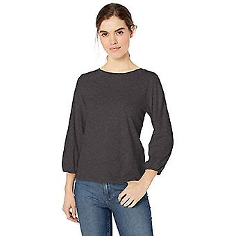Brand - Daily Ritual Women's Lightweight Lived-In Cotton Puff-Sleeve T-Shirt, Charcoal Heather, Small