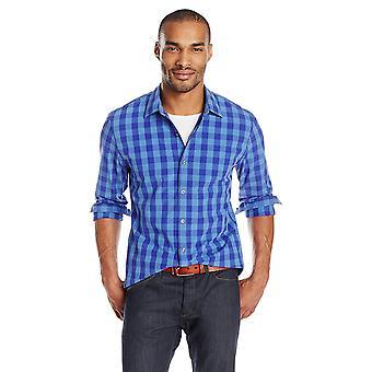 Goodthreads Men's Slim-Fit Langarm Gingham Plaid Poplin Shirt, blau/Purpl...