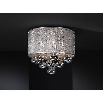 Schuller Andreda - 5 Light Crystal Flush Ceiling Light Cylindrical Mesh Chrome, G9
