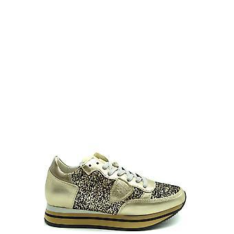 Philippe Modelo Ezbc019056 Zapatillas de cuero de oro para mujer y apos;s