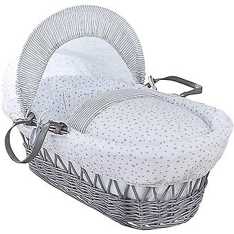 Clair de Lune Stars & Stripes Grey Wicker Moses Basket
