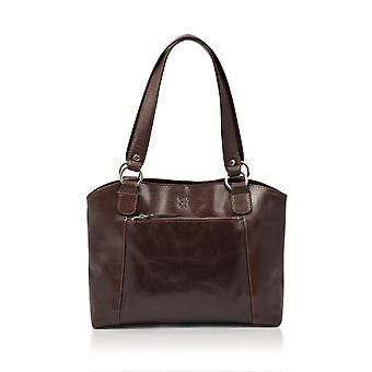Bowland Leather Shopper in Dark Brown