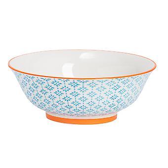 Nicola Spring Hand-Printed Salad Bowl - Japanese Style Porcelain Fruit Pasta Serving Bowls - Blue - 21.5cm