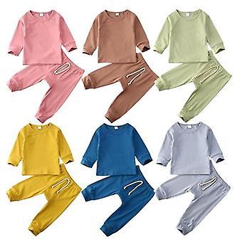 الطفل النوم مجموعات 0-24m طفل رضيع فتاة الطفل قمم تي شيرت + طويل ملابس السراويل ملابس بيجامة مجموعة