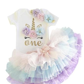 Summer 1 Year Baby Dress- Unicorn Party Tutu Dress, Toddler Kids Clothes