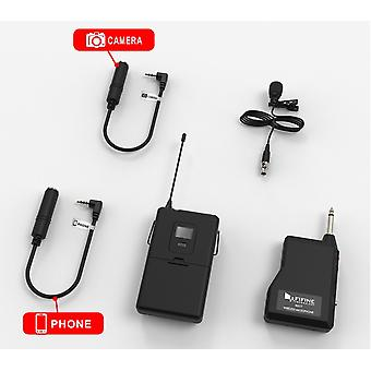 Fifine 20-channel Uhf Wireless- Lavalier Lapel Microphone System With Bodypack Transmitter Mini  Lapel Mic & Portable Receiver
