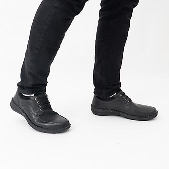 Josef Seibel Anvers 62 Mens Leather Wide Fit Shoes Black
