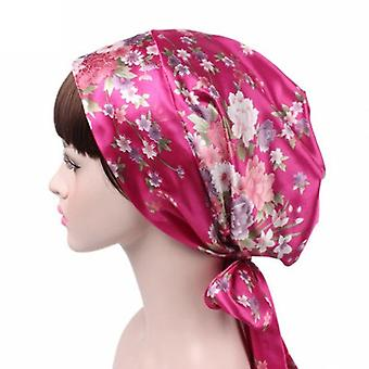 Women Satin Turban Headscarf Silk Shower Cap, Night Sleep Hair Bonnet Hat Head