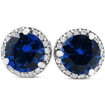 1 Ct Genuine Blue Sapphire & Diamond Halo Studs 10K White Gold Earrings
