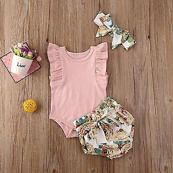 Infant Clothes Romper Tops, Flower Print Pants- Headband Bodysuit Outfits, 3buc