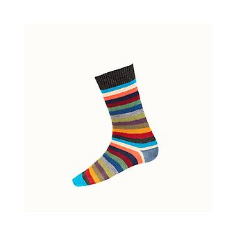 House of Cheviot Gents Stripy Short Socks ~ Charcoal