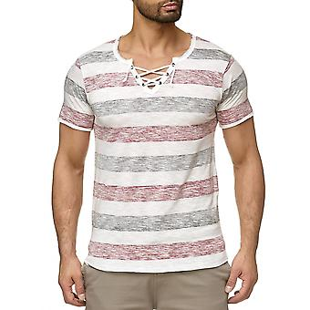 Men's T Shirt Short Sleeve Vintage Maritime Lace Collar Striped