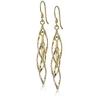 Forgyldt Sterling Sølv Lineær Swirl fransk Wire Drop, Guld, Størrelse Ingen størrelse