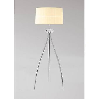 Floor Lamp Loewe 3 Bulbs E27, Polished Chrome With White Shade