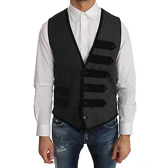 Dolce & Gabbana Gray Wool Patterned Slim Vest