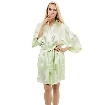 المرأة الحرير الساتان ليلة قصيرة رداء الصلبة كيمونو روب أزياء حمام مثير
